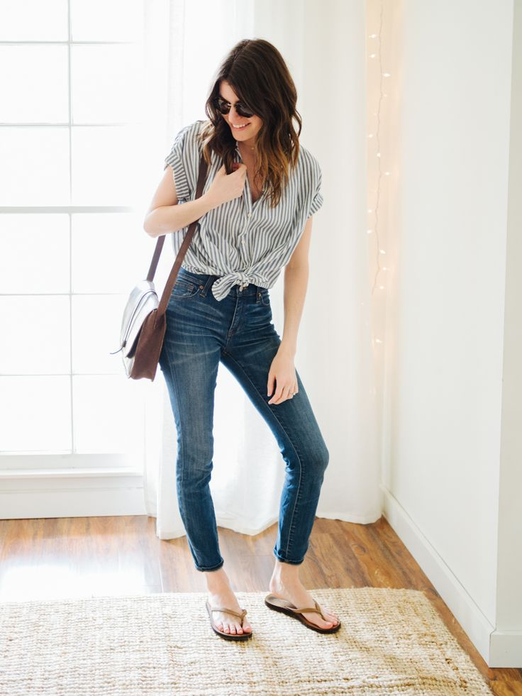 take two: that time I needed an outfit redo. Grey striped blouse+skinny jeans+brown flip-flops+brown shoulder bag+sunglasses+gold necklace. Spring Casual Outfit 2017
