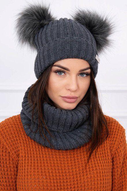 f3a537fd4 Set na zimu s dvojitými brmbolcami a šálom grafitový   Čiapky a šály    Knitted hats, Winter hats a Hats