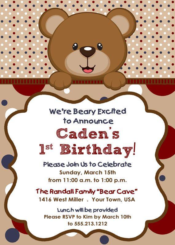 teddy bear themed boy u0026 39 s birthday invitation by
