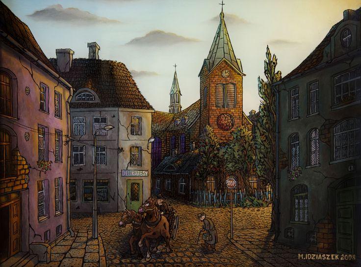 """Marek Idziaszek """"Ulica Mała"""" """"Mała street"""" oil painting on glass"""