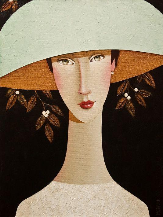 Delia in Her Mint Hat, by Danny McBride. Acrylic