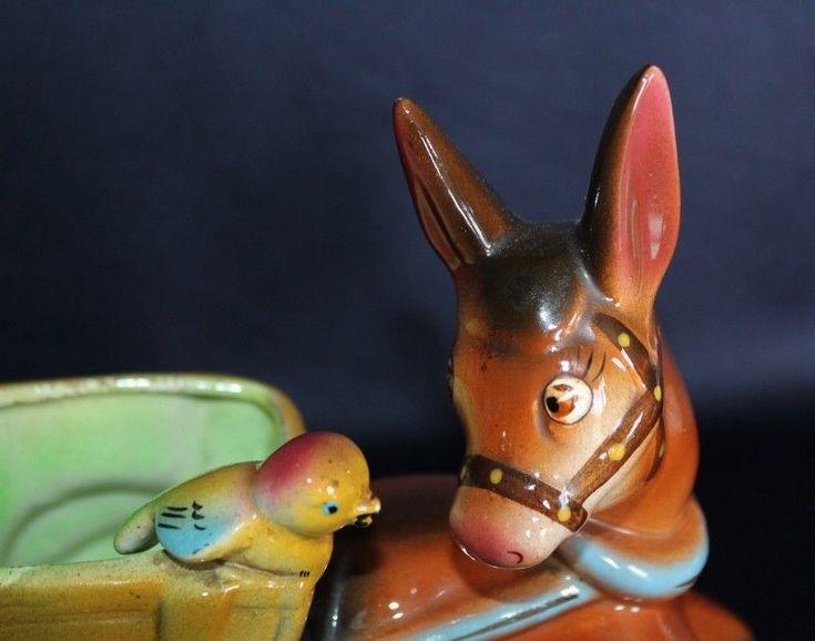 Vintage Donkey & Cart With Bird KALMAR Pottery Attractive Glazes  #VINTAGE