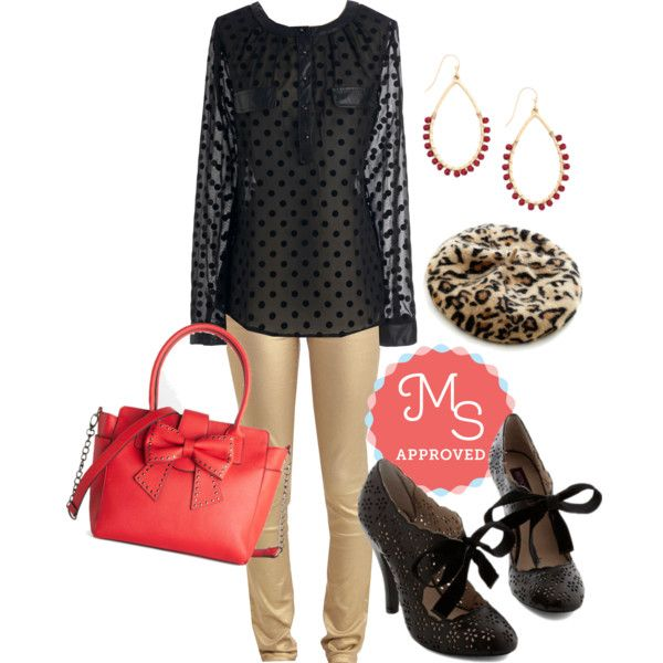 In this outfit: Love is What I Dot Top, Metallic Moxie Pants, Could it Bead? Earrings, French Immersion Hat, Cutie Alert Heel in Black, Betsey Johnson Happy-Bow-Lucky Bag #party #gold #chic #betseyjohnson #beret #heels #holidayparty