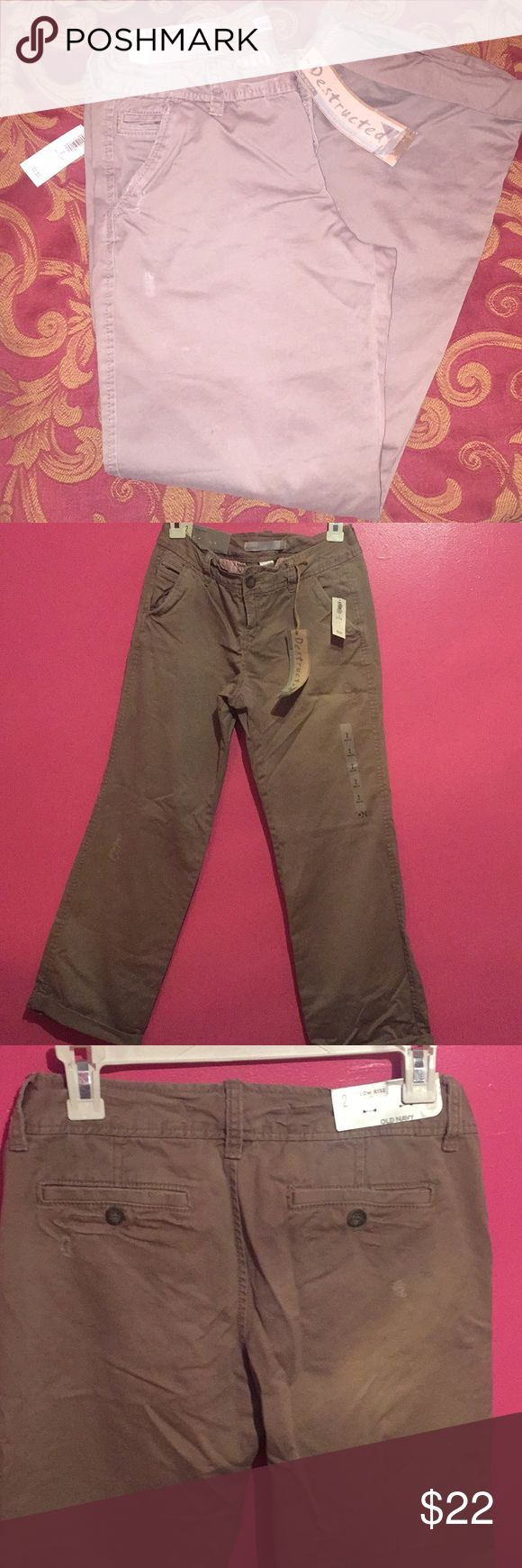 Old Navy beige cargo pants Brand new cargo pants with tags Destructed pants Size 2 regular  Low rise Old Navy Pants Boot Cut & Flare