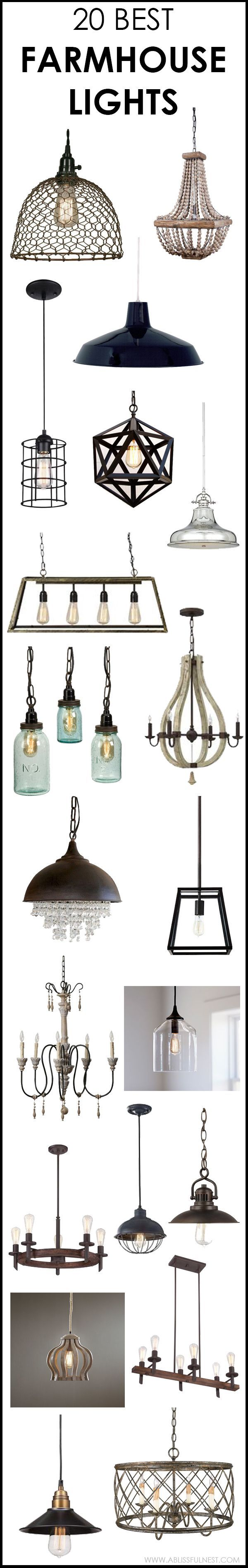 We've got 20 of the best farmhouse lights for you to choose from! If you are looking to get that Fixer Upper style then you will love these industrial lighting choices to get you that vintage farmhouse style. See more on http://ablissfulnest.com #farmhouse #farm
