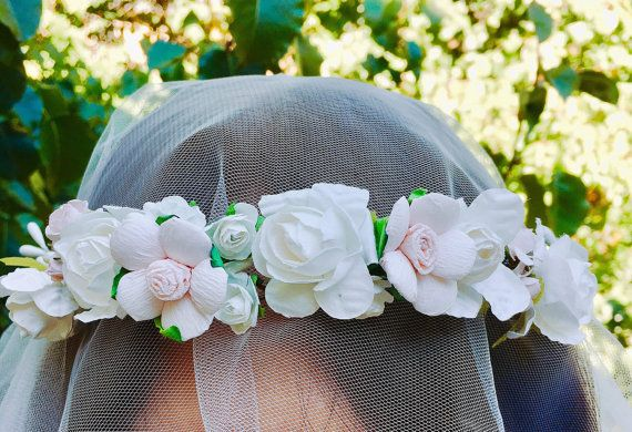 White rose Bridal flower crown Flower headpiece by BridalBlossom