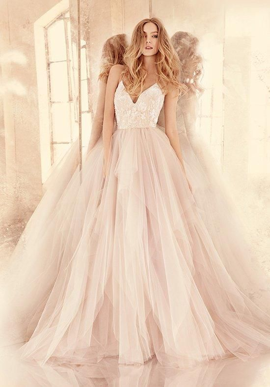 Alabaster tulle ball gown with floral beaded ballet bodice, V-neckline and spaghetti straps with crisscross at back, full tiered tulle skirt | Hayley Paige | https://www.theknot.com/fashion/nicoletta-style-6560-hayley-paige-wedding-dress