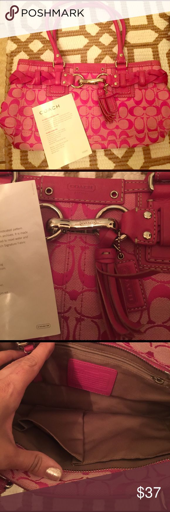 Pink coach purse Practically new. Beautifully detailed Coach Bags Hobos