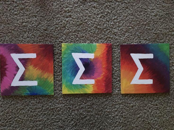 Tri Sigma Tie dye canvas letters