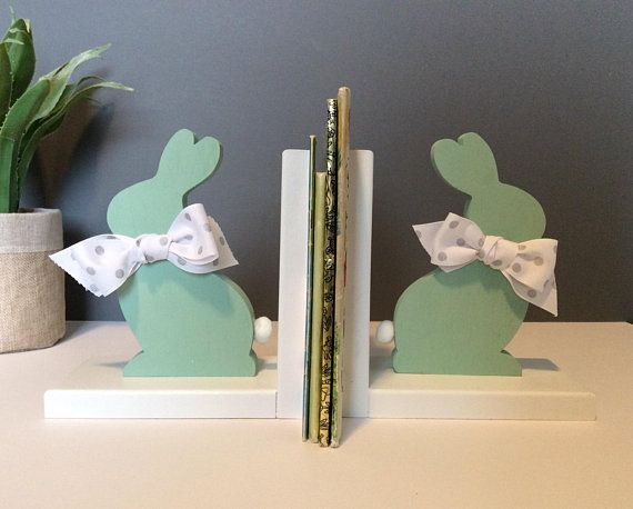 Bunny Non Skid Bookends Rabbit Bookends Christmas Baby Etsy In 2020 Bookends Mint Nursery Decor Mint Green Nursery