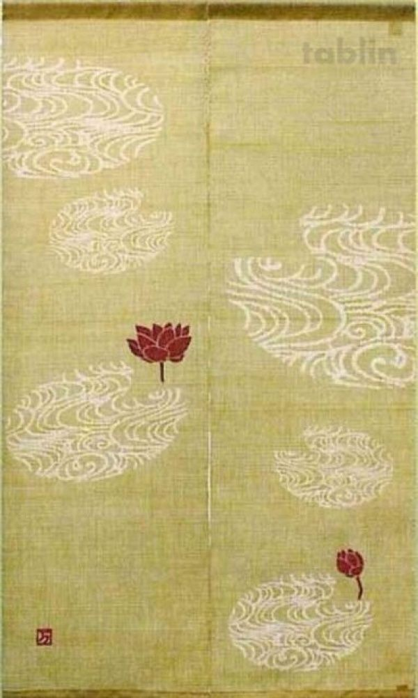 Photo1: Kyoto Noren MYS Japanese Linen door curtain hasu Lotus khaki 88 x 150cm