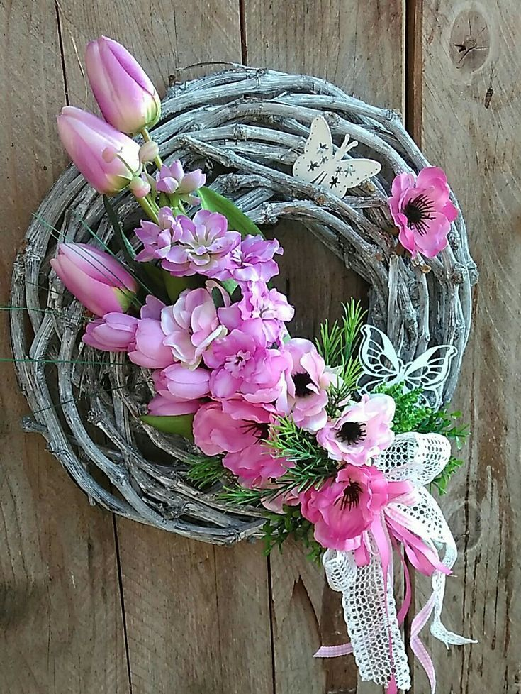 Easter And Spring Wreath With Pink Flowers