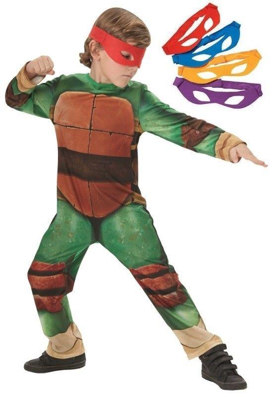 Déguisement Tortues Ninja garçon TMNT avec 4 masques. Déguisement Tortues Ninja garçon avec 4 masques tortues Ninja pour anniversaire, carnaval, fêtes.