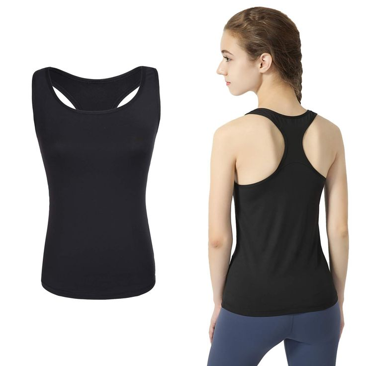 Women's Workout Yoga Racerback Tank Tops Activewear Running Athletic Shirts Sleeveless - Black - CE18H39882G 3