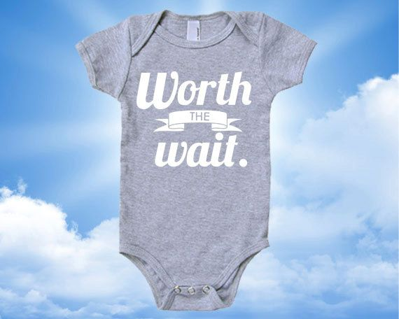 Worth the Wait Cotton Baby One Piece by SevenMilesPerSecond