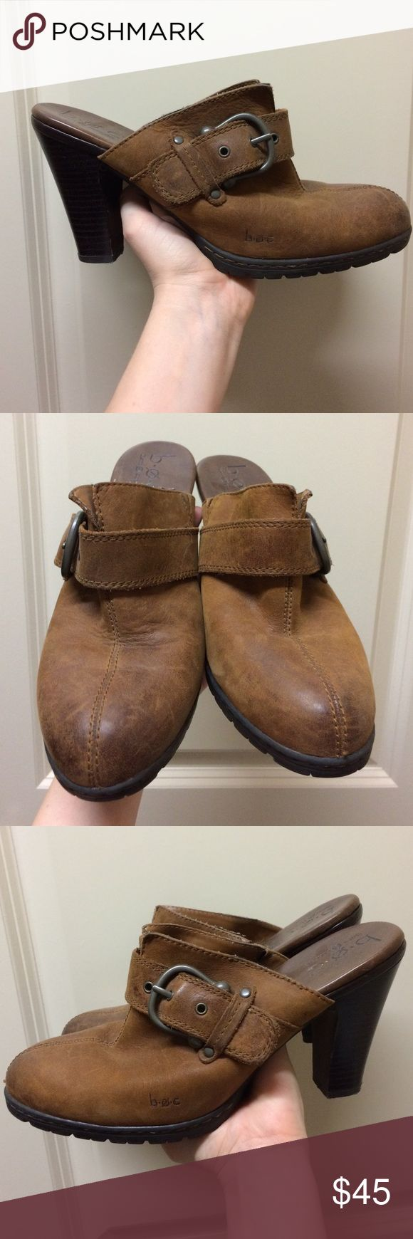 BOC 40.5 Brown Leather Mule Clog Heels BOC 40.5 Brown Leather Mule Clog Heels. Barely worn. About a size 9. b.o.c. Shoes Mules & Clogs