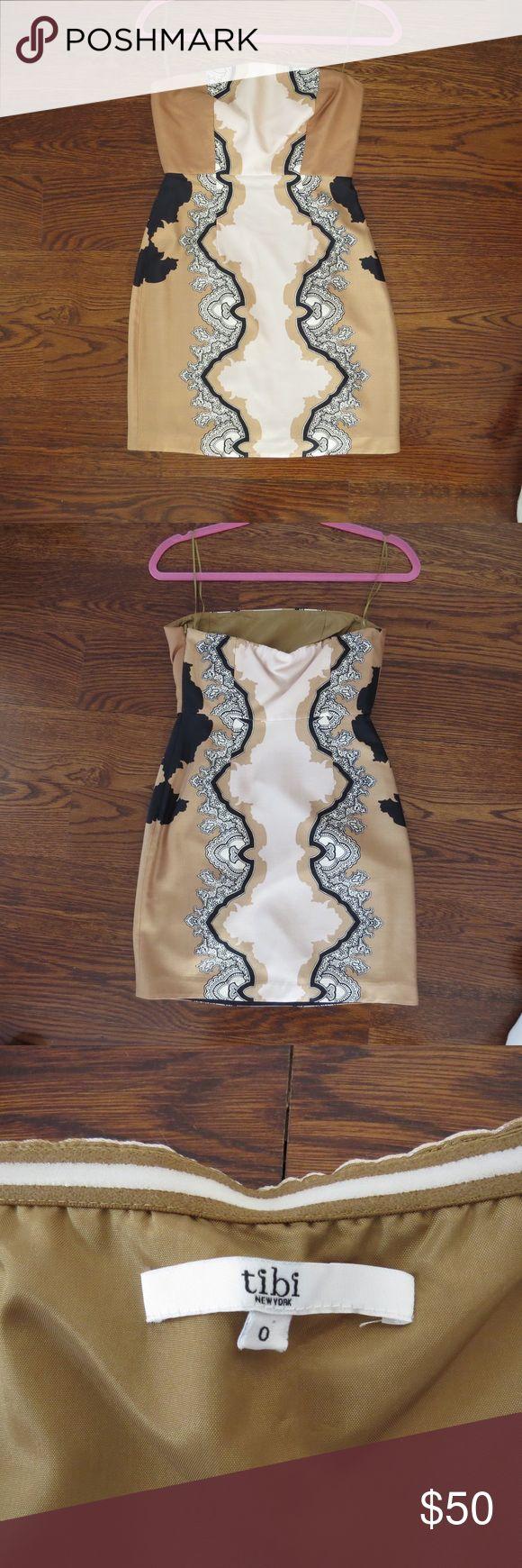 Tibi Mini Cocktail Dress Strapless neutral mini dress perfect for special occasions. Worn once! Tibi Dresses Mini