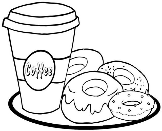 Donut Cream And Coffee Coloring Page Food Coloring Pages Donut Coloring Page Pizza Coloring Page