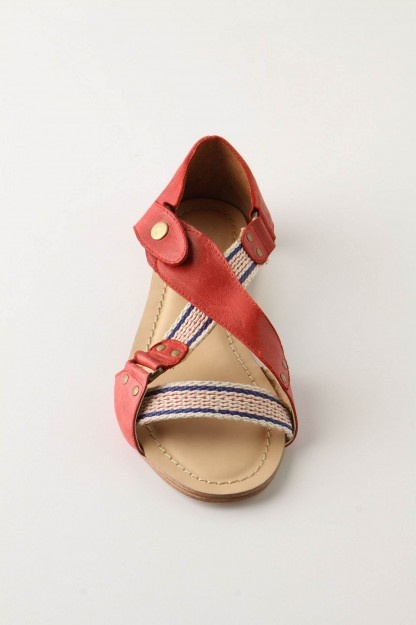 anthropologie leather and stripe sandals