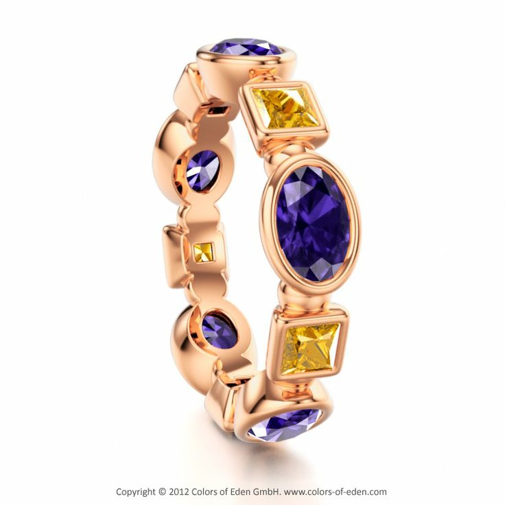 GLORIOLA | Eternity Ring with Tanzanite and Swarovski Brilliance Cubic Zirconia Golden Yellow in 18k Red Gold