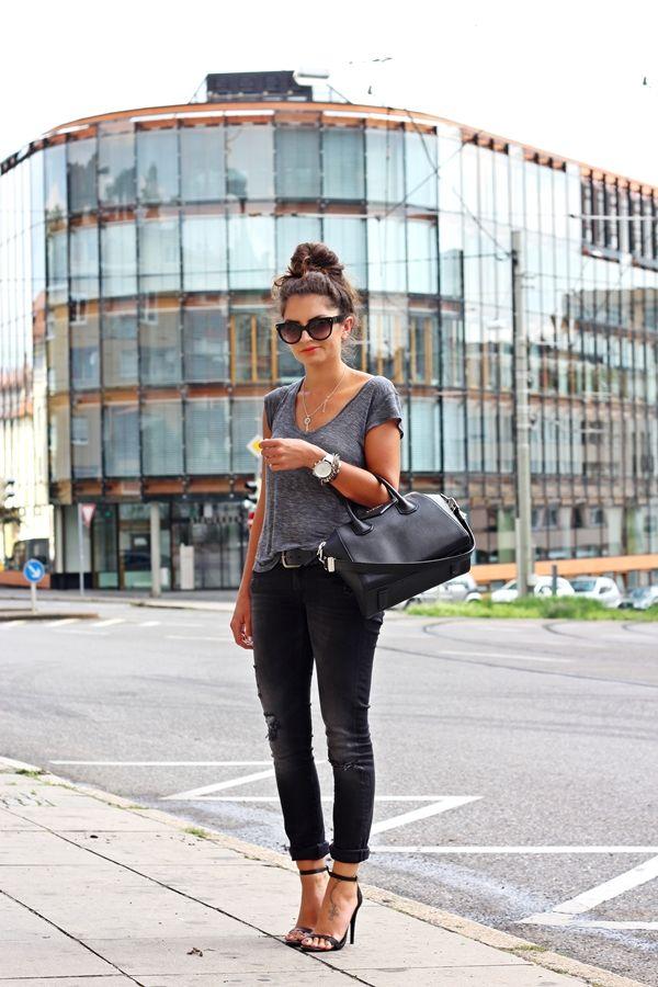 FashionHippieLoves: Grey tee + black skinnies + black Givenchy bag + Black sandals