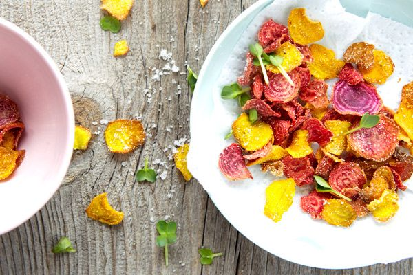 Beet Chips = GF + crunchy + easy + a way to use up something that seems to be in the CSA box every week