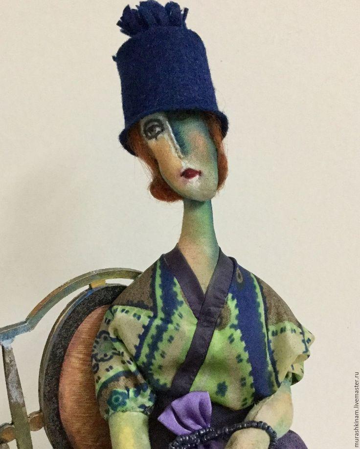 """Купить Текстильная кукла """"MON AMOUR"""" по мотивам Модильяни - фиолетовый, текстильная кукла, авторская кукла"""