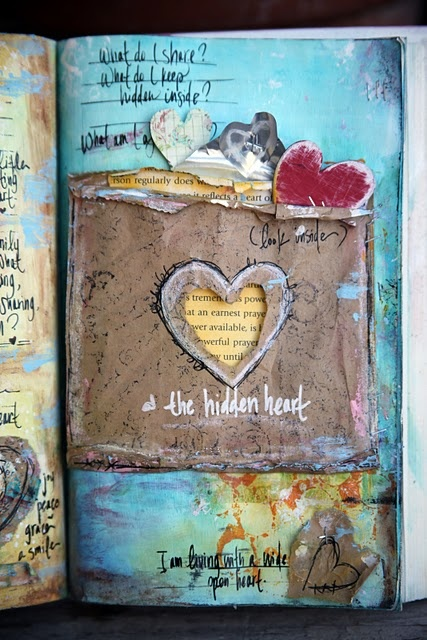 awesome art journal from JunelleJournals Inspiration, Hidden Heart, Art Journals, Heart Art, Journals Pages, Journals Ideas, Mixed Media, Amen Blog, Altered Book