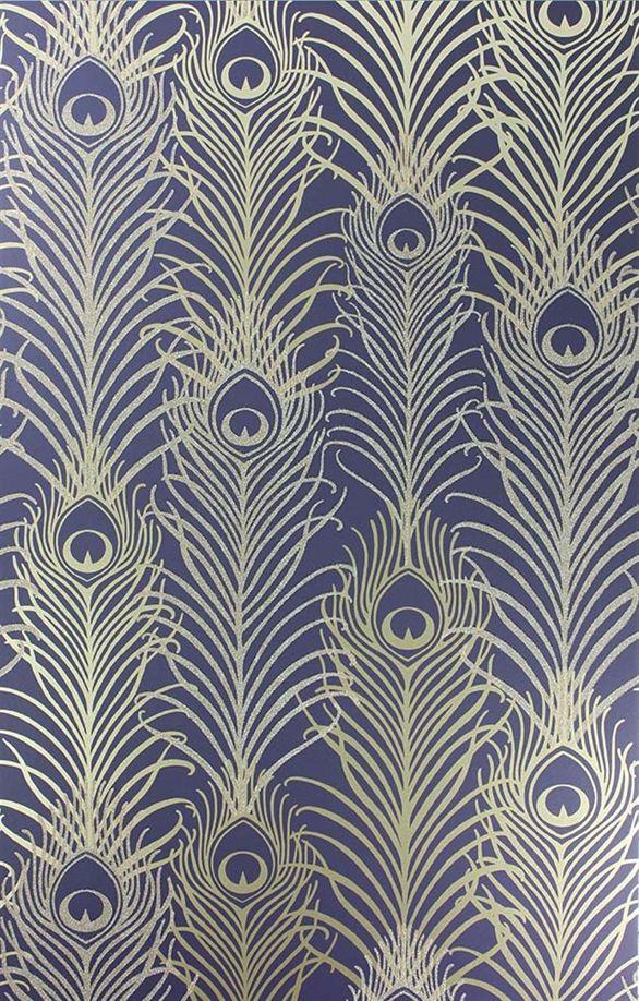 Pippy's Peacock Wallpaper - Dark Blue  [PEA-53621] Mansion Living…
