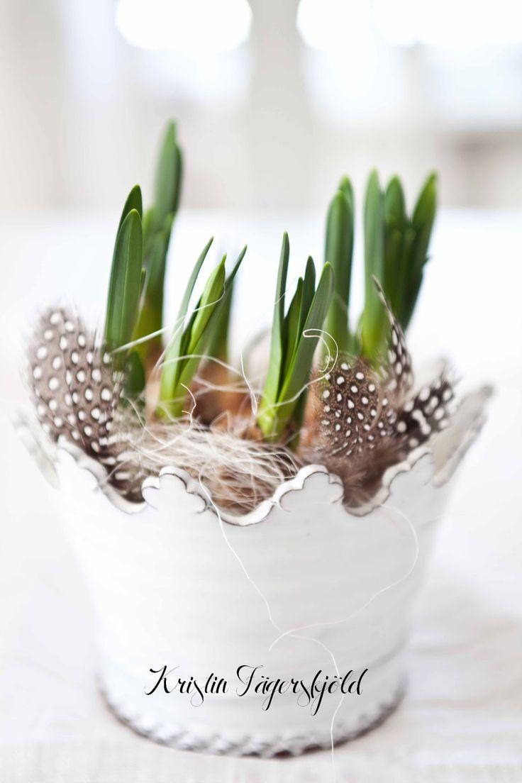 Minipåskliljor tillsammans med sisal och pärlhönsfjädrar, i kronkruka av Monica Johansson (köpt hos Matilde & co)