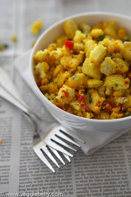 Bread Upma, an Indian dish, is a spiced, stir fried bread dish. Its very easy to make and there is always bread lying around that needs to be used up. So I can tip toe into the kitchen at midnight and quickly whip up this snack
