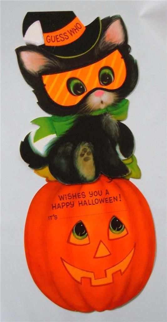 vintage hallmark halloween greeting card die cut cat and jol swing kids unused ebay - Hallmark Halloween Decorations