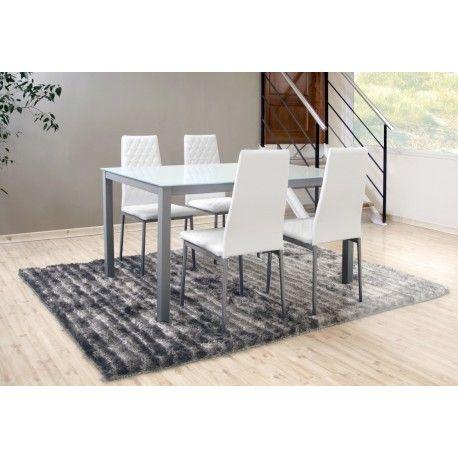 Conjunto de mesa con cuatro sillas para salón comedor o cocina compuesto por mesa metálica con tapa de cristal templado en blanco o negro con estructura metálica gris con cuatro sillas metálicas tapizadas.