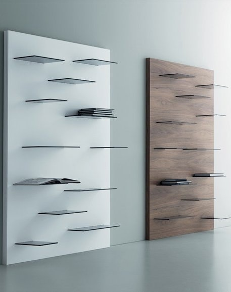 Open Wall Mounted Walnut Bookcase GALAGA By @Miniforms | #Design Andrea  Lucatello #