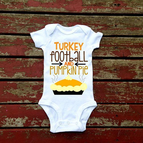 Turkey Football and Pumpkin Pie Baby Boy by GLITTERandGLAMshop