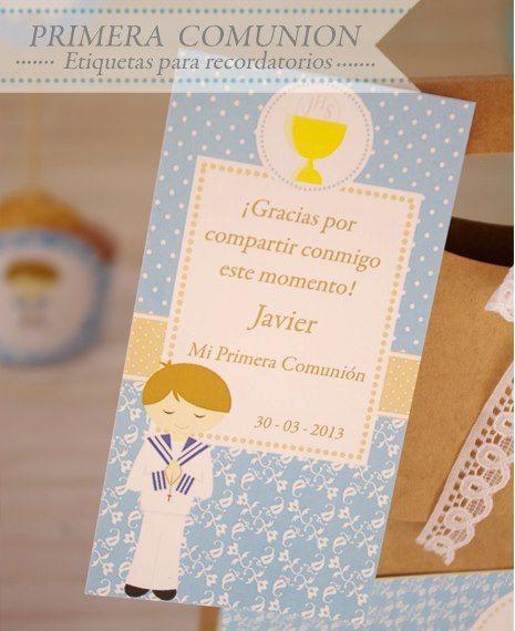 Kit imprimible Comunion Niño. por HAZLOESPECIAL en Etsy