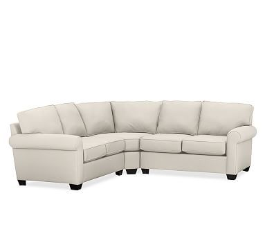 Buchanan Roll Arm Upholstered Curved 3-Piece L-Shaped Sectional, Polyester Wrapped Cushions, Organic Cotton Canvas Natural