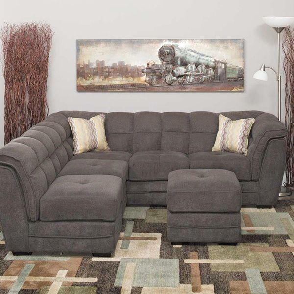 Clio Gray 4 Piece Pit Sectional Apartment Couch Furniture Pit
