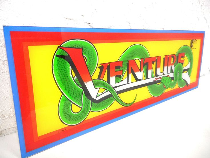Original 1981 Plexiglas Arcade Game Machine Marquee, Venture Game by Exidy, Green Snake Cobra, 23.5 X 8 in
