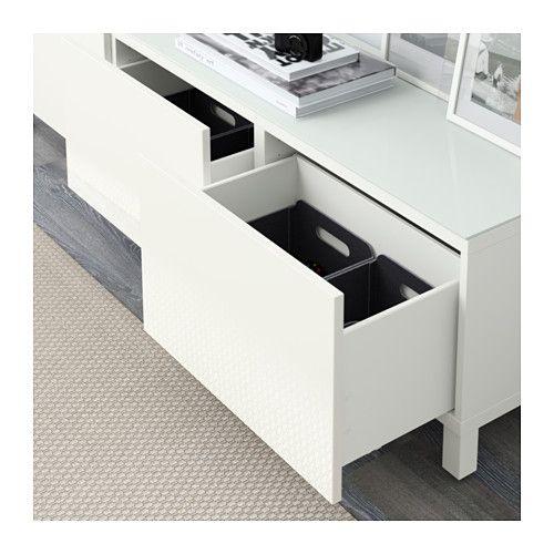 BESTÅ Storage combination with drawers - white/Selsviken high-gloss/white, drawer runner, soft-closing - IKEA