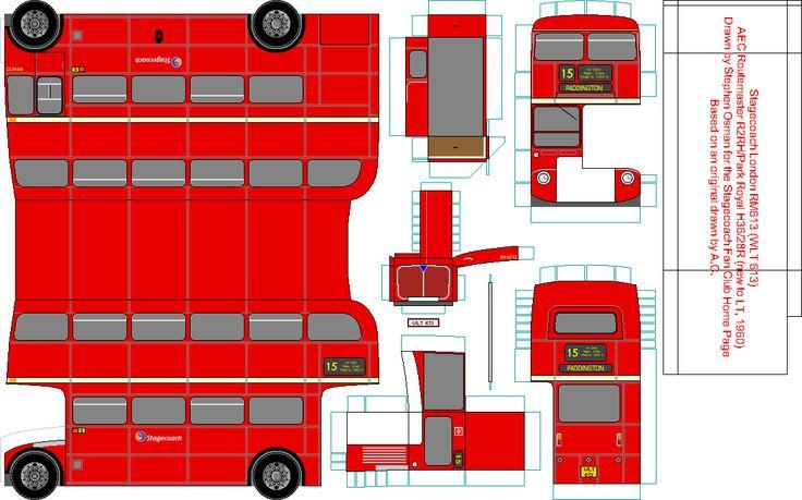 Iconic London Double Decker Bus Paper Model
