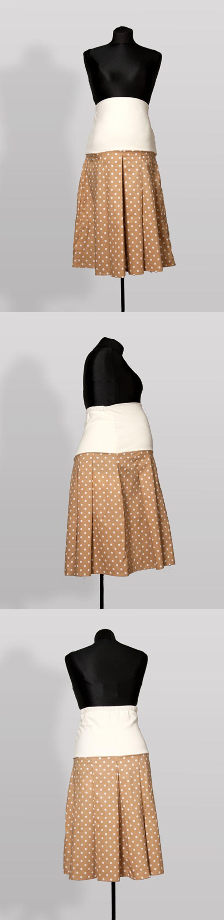 SK004 – Sukně Béžová šedesátá Těhotenská sukně z bavlněné látky s pružným pásem Ideální do práce Pružný pás pro zvětšující se bříško Pás je možné nosit přes bříško nebo ohnutý Sukni je možné nosit i po těhotenství
