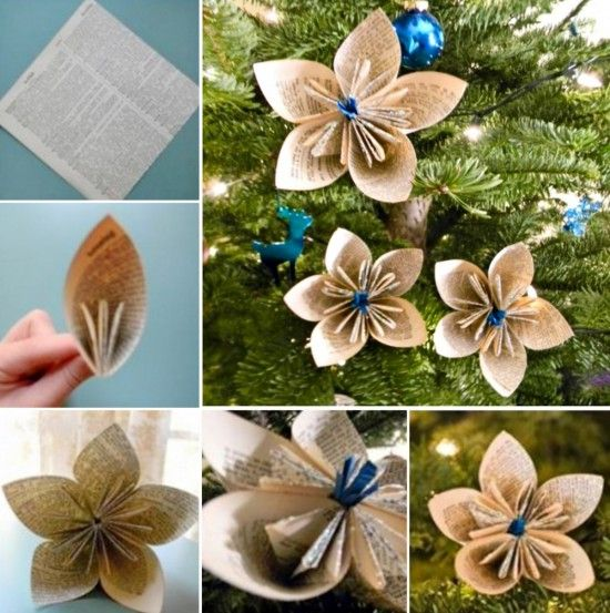 Vintage Paper Flower Ornaments