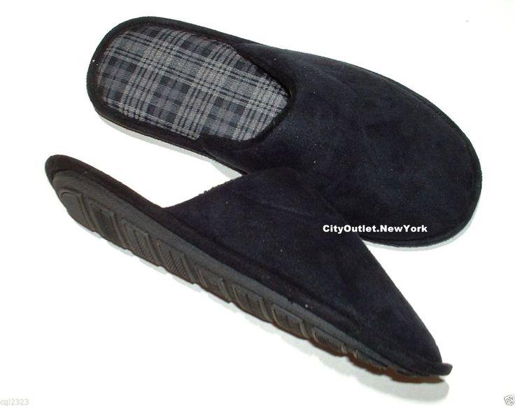 JOHN ASHFORD Men's Size M 8-9 Faux Suede Cushioning Slip-On Slippers NEW