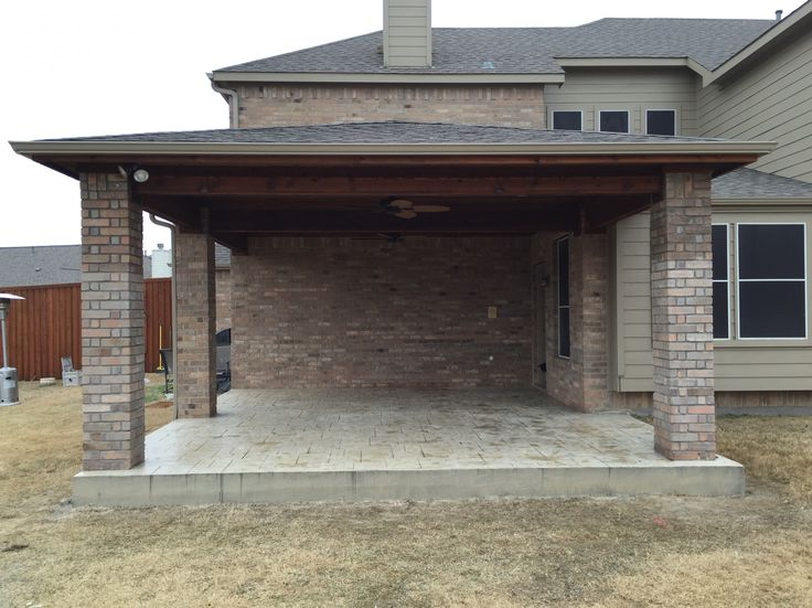 Cedar Patio Cover With A Beautiful Cedar Tongue And Groove Ceiling With  Recessed Lighting. Brick Columns To Match The House Brick And A Stamped Conu2026