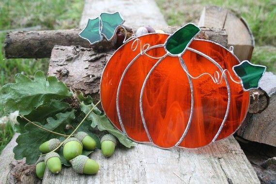 Halloween Stained Glass Orange Pumpkin by StainedGlassFayre