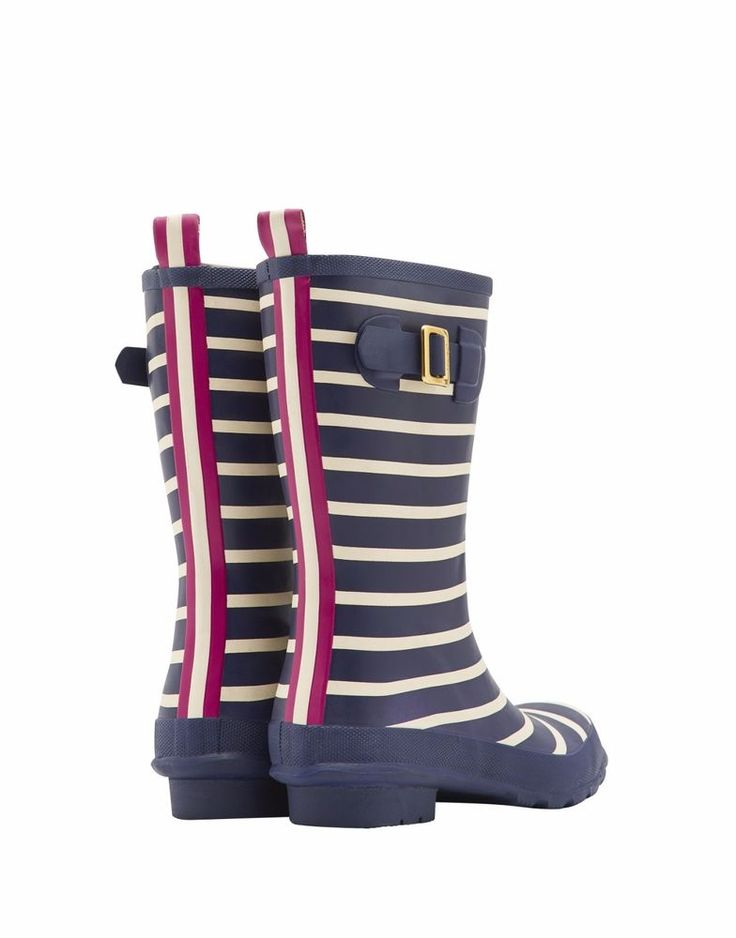 JOULES SALE Molly Welly Navy White Stripe Rain Waterproof Short Rubber Boots 9 M #Joules #Rainboots