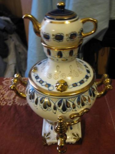 vintage russian porcelain samovar with mini teapot