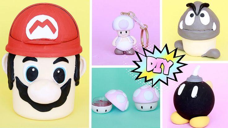 DIY GEEK Super Mario World 5 ideias Projeto #DiyGamesAntigos #diy #games #super #mario #bros #polymer #clay #biscuit #reciclado