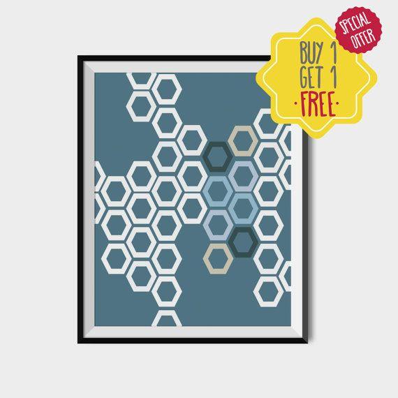 Polygon printable art, Blue polygon poster, Geometric wall art, Scandinavian home decor, Blue shapes poster, Printable scandinavian, Minimal